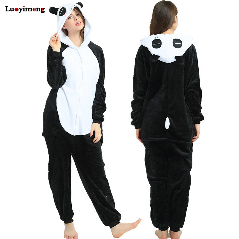 Adults Panda Pajamas Unicorn Onesie Women Sleepwear Stitch Nightwear Mens Overalls Winter Animal Kigurumi Cosplay Pyjamas Hooded