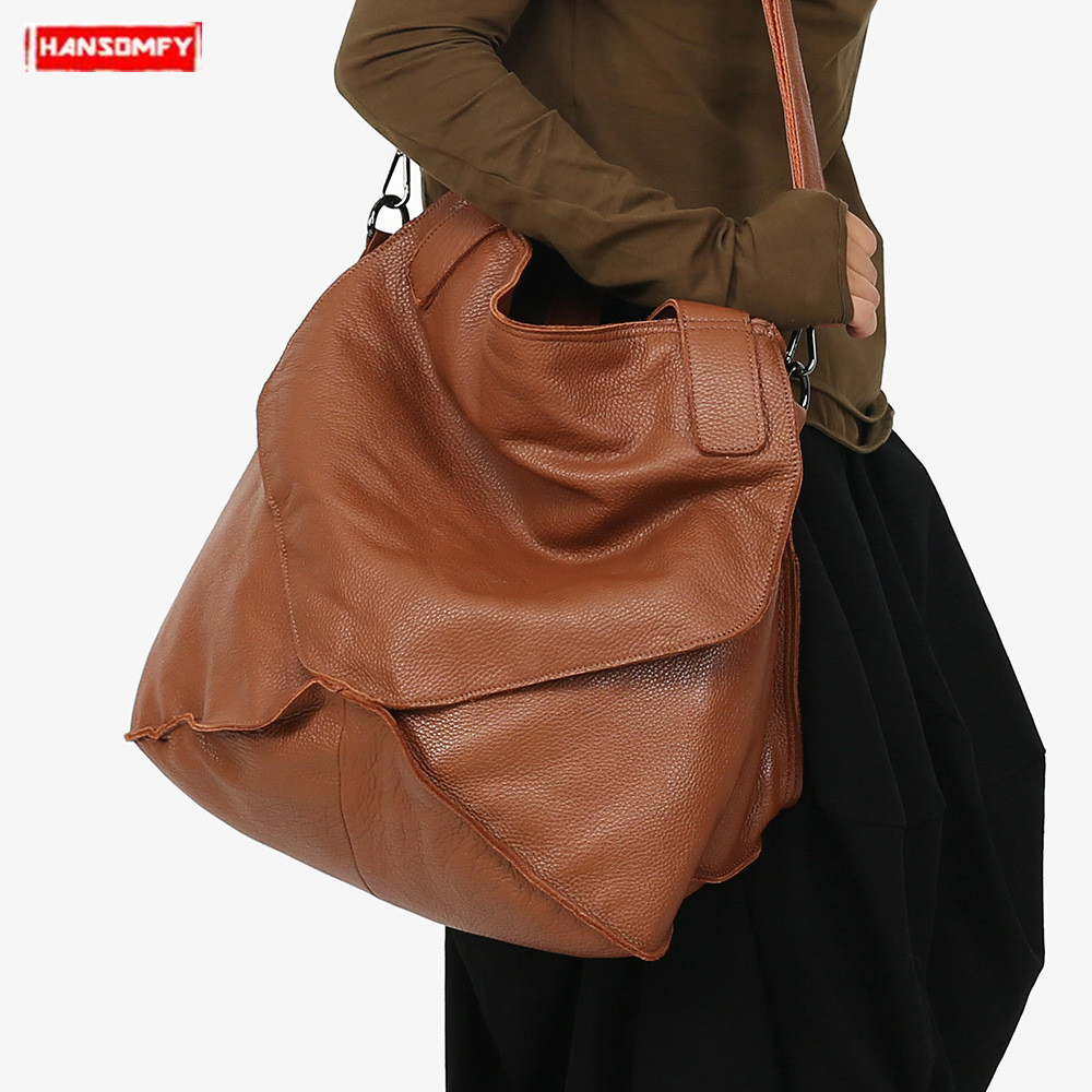 2019 New womens handbag first layer cowhide leather shoulder bag large capacity genuine leather bucket messenger crossbody bags2019 New womens handbag first layer cowhide leather shoulder bag large capacity genuine leather bucket messenger crossbody bags