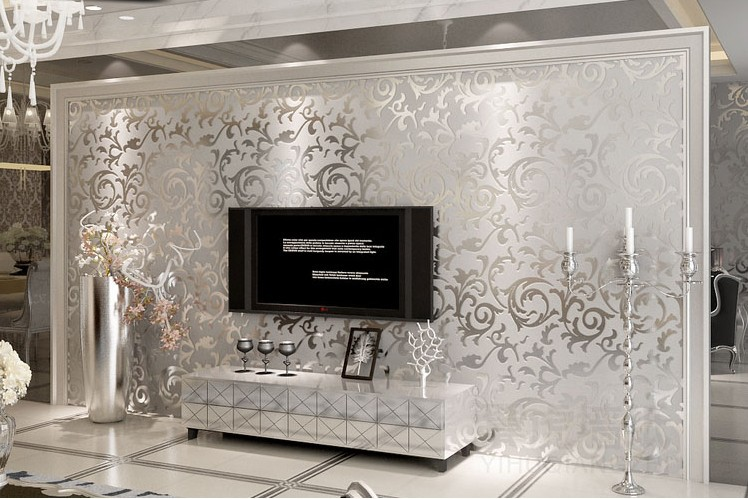 2014 Upgrade European Background Wall Thickening Flocking Wallpaper Living  Room Sofa TV Home The Golden, Silver, Light Yellow In Wallpapers From Home  ... Part 53
