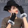 Зима женщины перчатки корейский волос кролика дутый прекрасный сенсорный экран леди перчатки