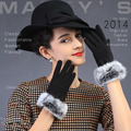 New Winter women gloves Korean style Rabbit hair bowknot lovely  fashion style Touch screen lady gloves