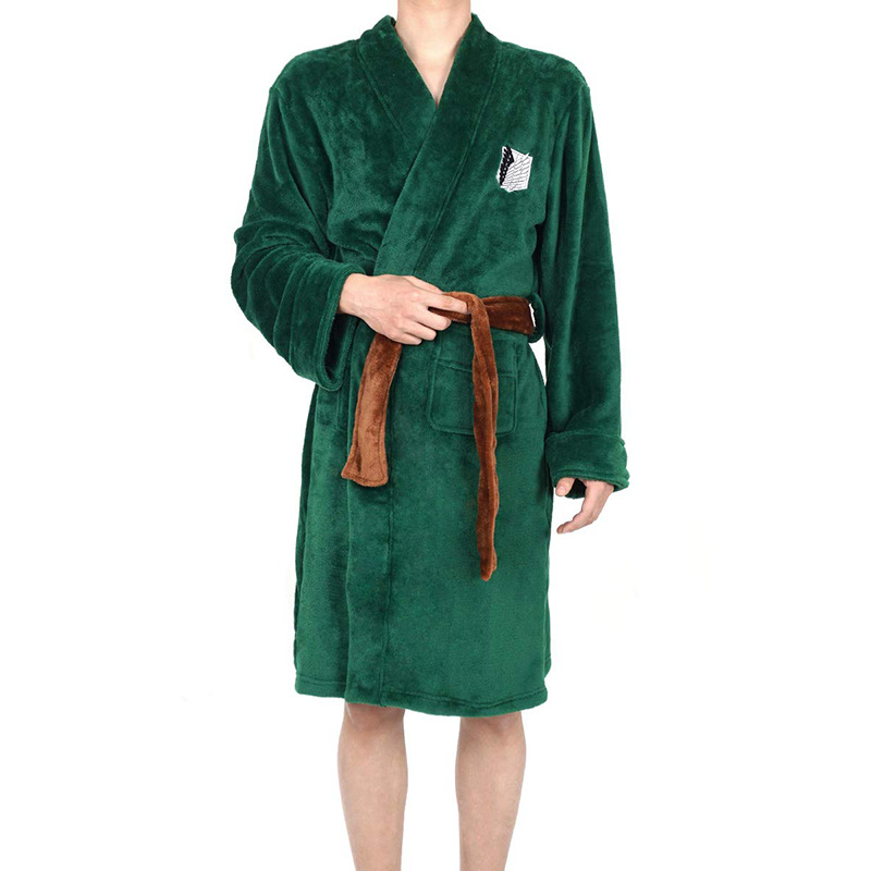 Anime Attack On Titan Costumes Cosplay Levi Ackerman Coral Velvet Bathrobe Pajamas Leisure Wear Fit Party European Size