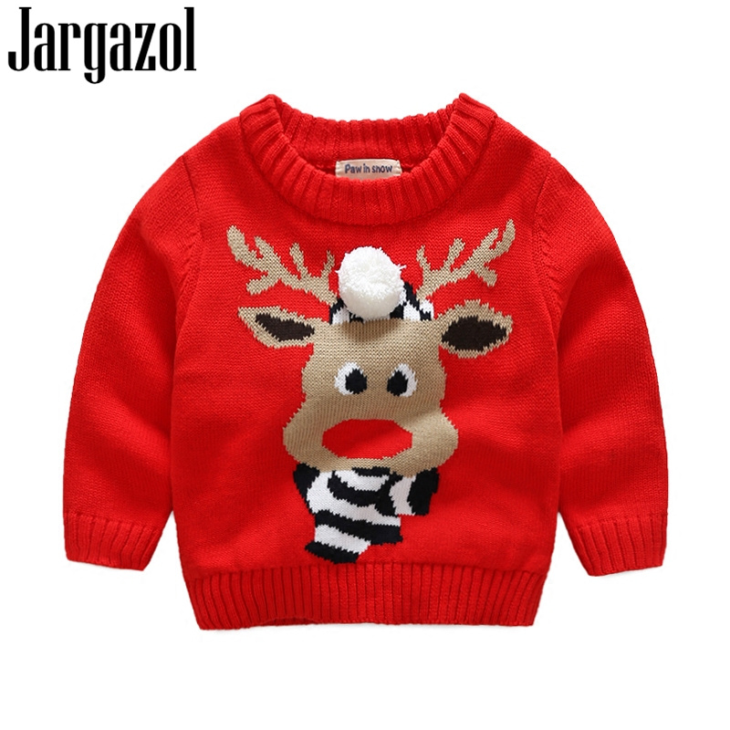 Christmas Sweaters Cute.Us 11 5 40 Off Baby Girl Winter Christmas Sweater Fur Ball Cartoon Deer Embroidery Autumn Ccotton Toddler Boys Sweater Cute Knitted Tops 2018 In