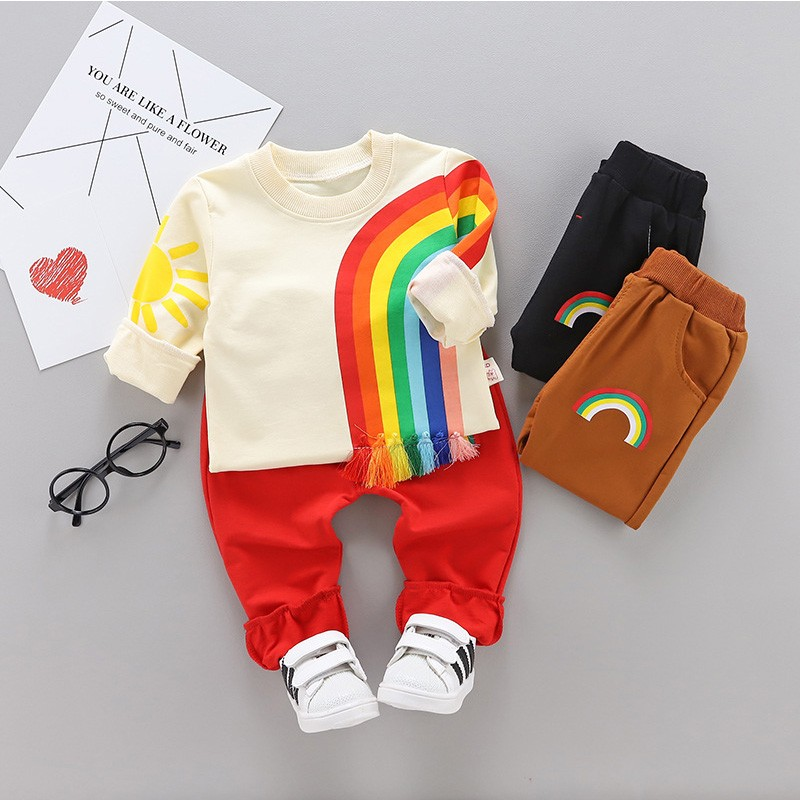 Winter Boys Clothes Rainbow Embroidery Children's Clothing Set 95%Cotton Warm Baby Girls Clothes Boys Winter Clothes For Kids 2018 sweatshirt kids clothing sets toddler baby boys clothes set winter warm children clothing set for boys cotton kids 2 piece