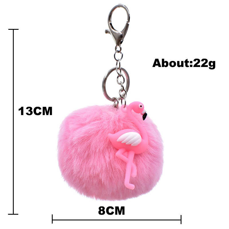 Cute Soft Rubber Flamingos  Keychain Pompom Avengers Key Chains Jewelry Fur Ball Key Chain Fluffy Keyring For Women Bag Key Ring