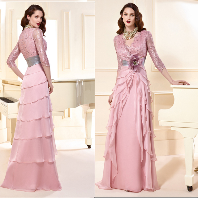 Pink ruffles 3/4 sleeve lace chiffon mother of the bride dresses with flowers Floor-Length party dresses mae da noiva MBD219