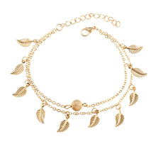Bohemian Foot Jewelry Beach Double Layered Retro Foot Chain Anklets Tassels Small Leaf Ankle Bracelets for Women Wholesale