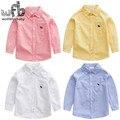 Розничная 2-8years длинные рукава рубашки Хлопок Классические твердые детские Clothing мальчики Одежда Детская Одежда весна осень-лето