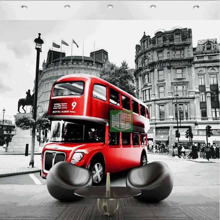 Custom 3d photo wall paper European retro style red theme wallpaper London street tram creative landscape wallpaper mural