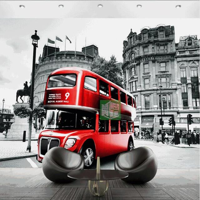 Custom 3d photo wall paper european retro style red theme wallpaper london street tram creative landscape