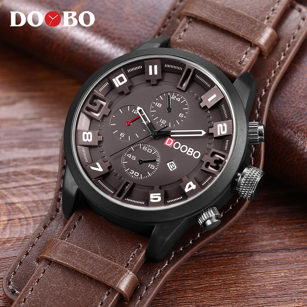 DOOBO Men's Casual Sport Quartz Watch Mens Watches Top Brand Luxury Quartz-Watch Leather Military Watch Wrist Male Clock Drop splendid brand new boys girls students time clock electronic digital lcd wrist sport watch