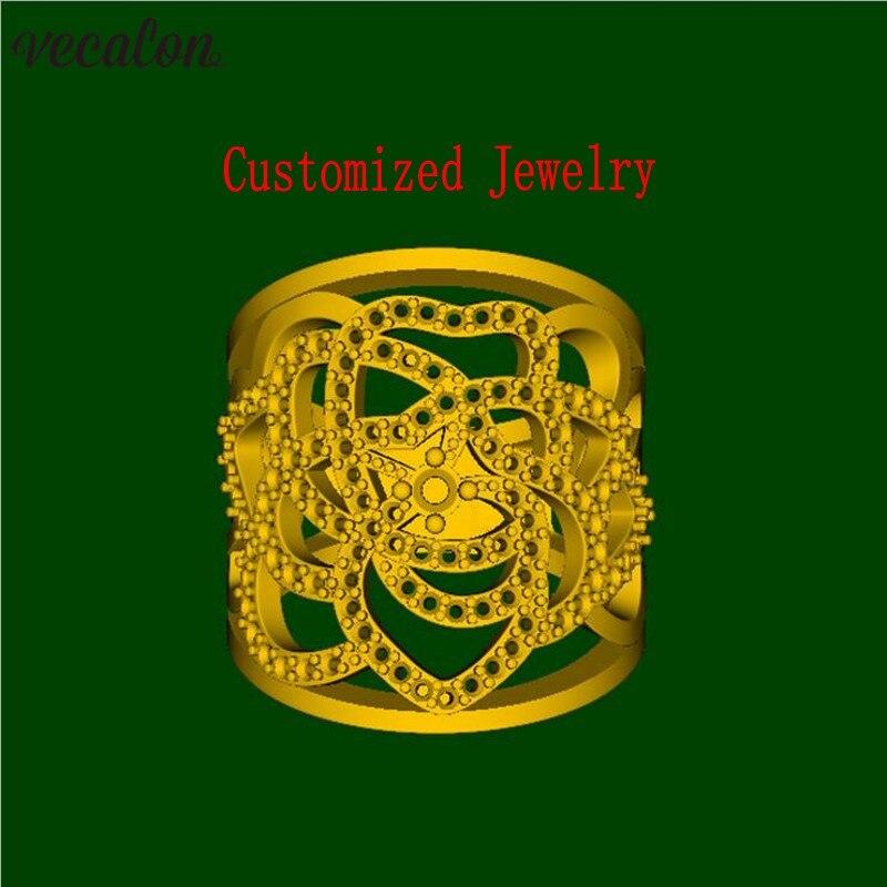 Vecalon di Fascino a Forma di Cuore anello 5A Zircone 925 sterling silver Filled di Fidanzamento wedding Band anelli per le donne Monili Su Misura