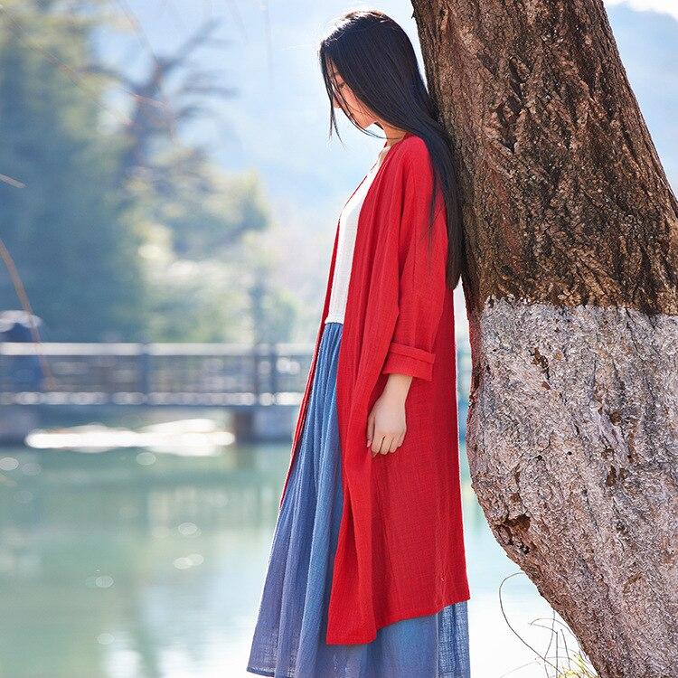 À Femmes Originale Printemps Coton Survêtement Lin Et rouge D'été Bxf2175 Veste 2019 Simple Nouvelle Prise Manches blanc Bleu Art Frais De Longues qS6Xt
