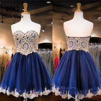 2018 Navy Blue Homecoming dress short with Appliques Beaded Sweetheart Tulle cocktail party dress short homecoming dress