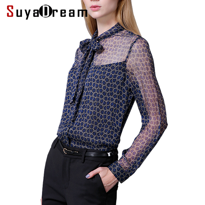 Women long sleeved   Blouse   100% REAL SILK OFFICE LADY Transparent Printed   Blouse     shirt   Blusas femininas 2018 NEW