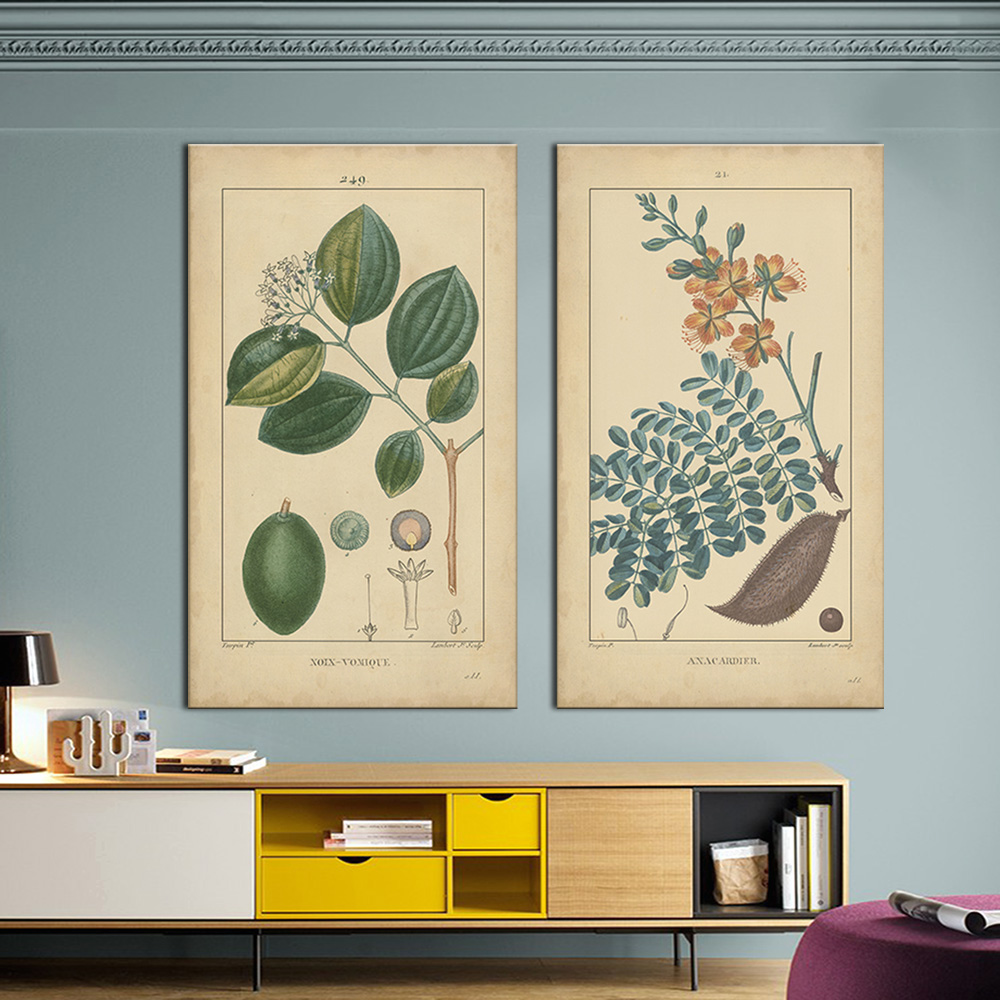 Hot sells 2panels one set Painting Canvas  Botanical illustration note wall art Home Decoration Modern oil Painting printed