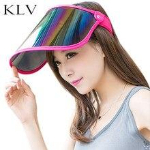 Women Summer Empty Top Sun Visor Hat Rainbow Plastic Panel UV Protection Adjustable Angle Large Wide Brim Motorcycle Beach Cap