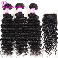 Pizazz Hair Brazilian Hair Weave 3 Bundles With Closure 4x4 Free Part Deep Wave Human Hair