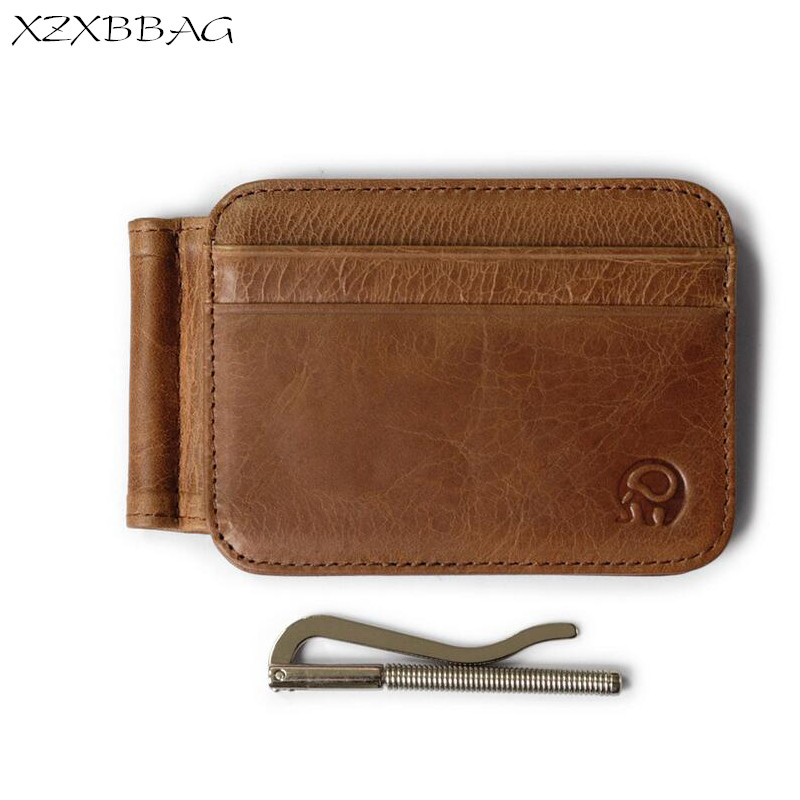 XZXBBAG Men Genuine Leather Money Clips With Credit Card ID Holders Business USD Folder Wallet Male Dollar Clip Cash Clamp Purse