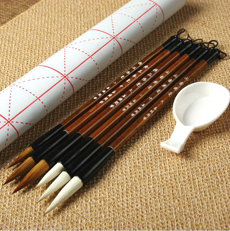 все цены на Hot Sale Chinese Traditional Calligraphy Pen Brush Set 6pcs Large Middle Small Regular Script Weasel Hair Writing Bushes онлайн