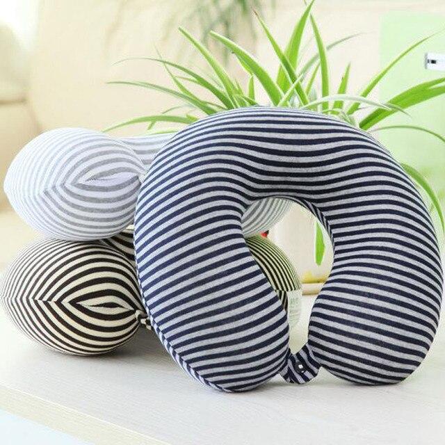 microbilles u forme oreiller bande transfert impression voyage oreillers masseur avec bouton kissen mousse corps