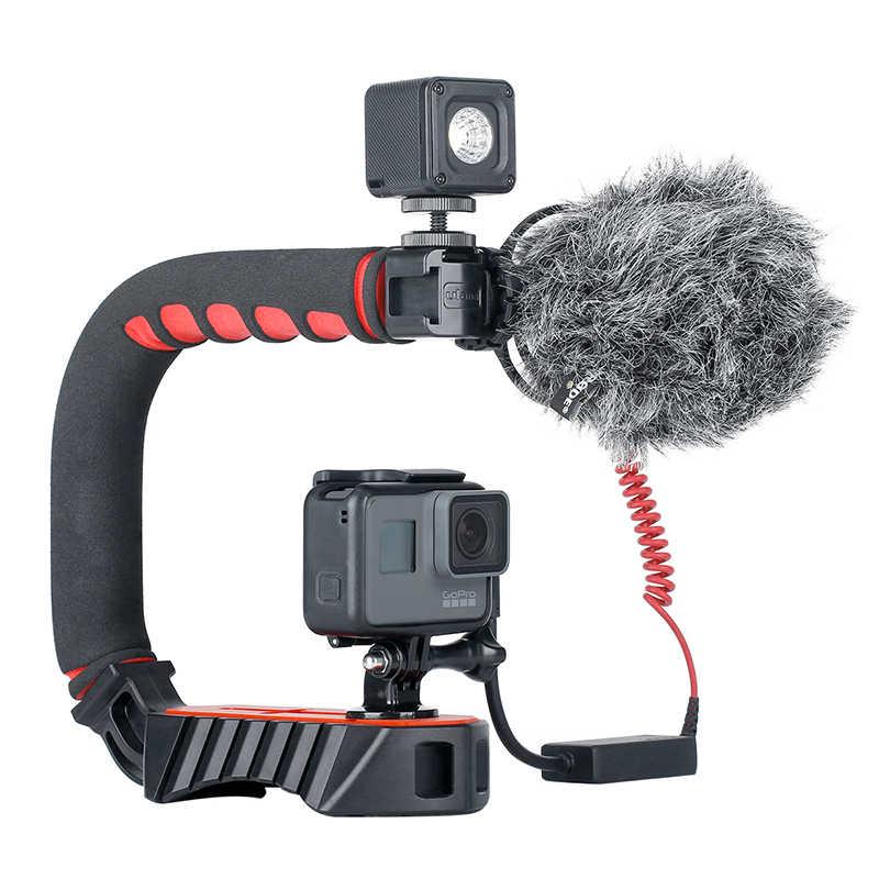 Ulanzi U אחיזה פרו וידאו פעולה ייצוב ידית אחיזה עם 3 נעל Mounts עבור iPhone DSLR מצלמות מצלמות וידאו GoPro גיבור 7 6 5