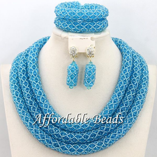 Sky Blue African Fashion Jewelry Sets Hot Sale Wedding Jewelry Set Handmade Item Free Shipping BN280 luxury african dubai jewelry sets hot wedding beads set handmade item wholesale free shipping ncd022