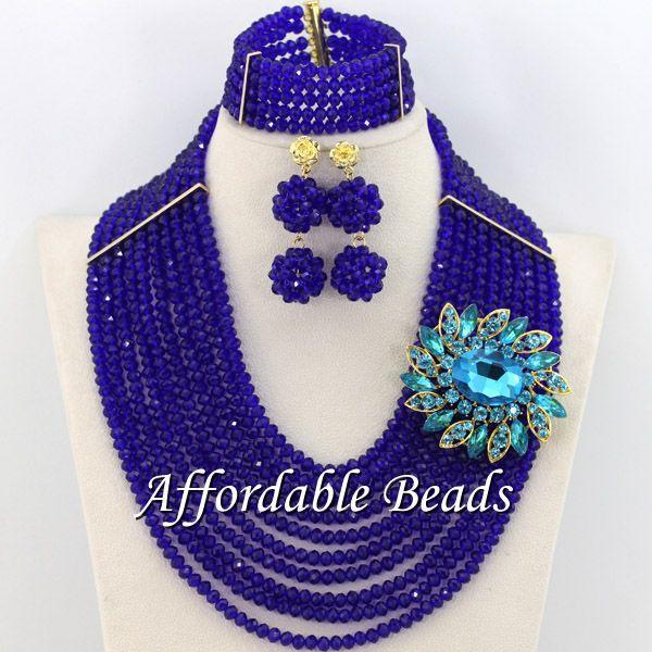 Perles africaines bleu Royal Unique ensemble de bijoux africains Style populaire en gros livraison gratuite BN556