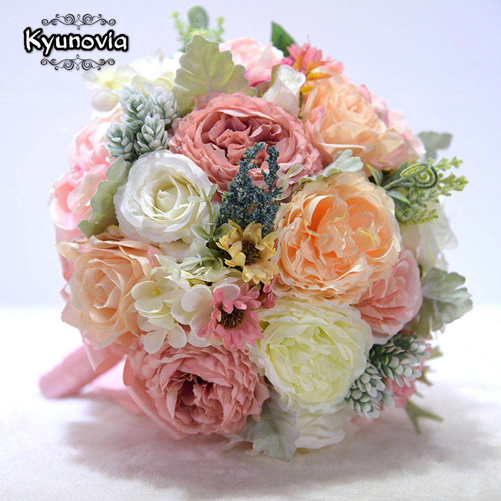 Kyunovia New Wedding Bouquet Lvory And Blush Pink Peony Wedding Flower Silk Bridal Bouquet Buque De Noiva Wedding Decoration D41