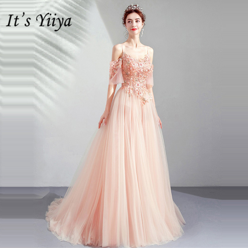 It's YiiYa   Prom   Gowns Court Train Beading Short Sleeves Floor Length Long Party   Dress   Custom Plus Size   Prom     Dresses   2019 E265