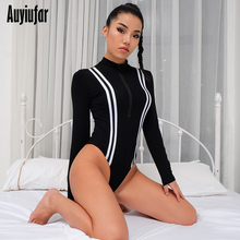 цены на Auyiufar Skinny Patchwork Women Bodysuit Zipper Long Sleeve Female Rompers Casual Black 2019 New Women Sexy Bodycon Bodysuits в интернет-магазинах