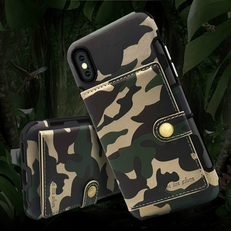 New Fashion Military Army Camouflage PU Leather Card Slot Holder Wallet Phone Case Cover for iPhone
