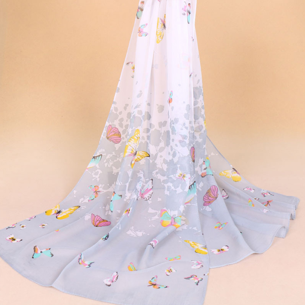 Chiffon Sunscreen   Scarf   Summer Beach Shawl   Scarves     Wraps   Butterfly Fabala Floral Soft