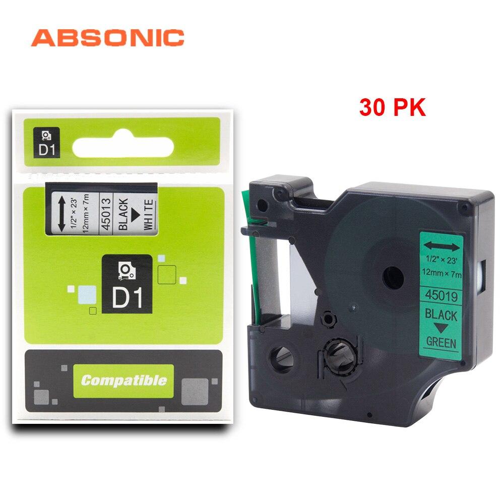 Ruban de recharge Absonic 30 pièces 12mm DYMO D1 45019 noir sur vert Compatible Dymo LabelManager PnP 160 220 P 360D 450D imprimante Maker