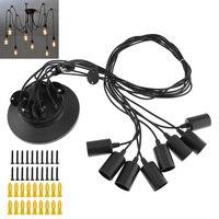 8 Heads 1.5M Vintage Industrial Ceiling Lamp Holder Pendant Bulb Socket Lamp Base for Edison Light / Chandelier