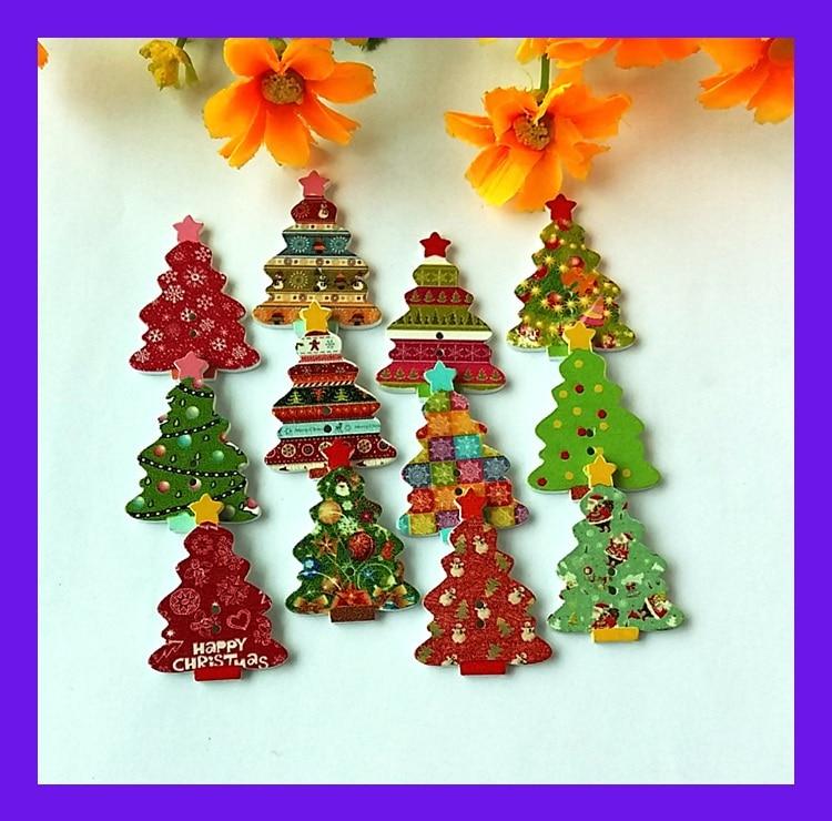 New Goods Randomly 2 Holes Mixed Patterns 25 35mm Wooden Christmas