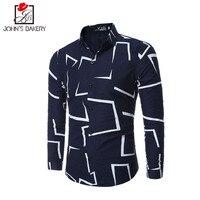 2017 New Fashion Brand Men Shirt Geometric Map Dress Shirt Long Sleeve Slim Fit Camisa Masculina
