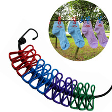 EDC GEAR Portable Travel Stretchy Clothesline Outdoor Camping Windproof Clothes Line with 12 Clamp Clip Hooks Kit