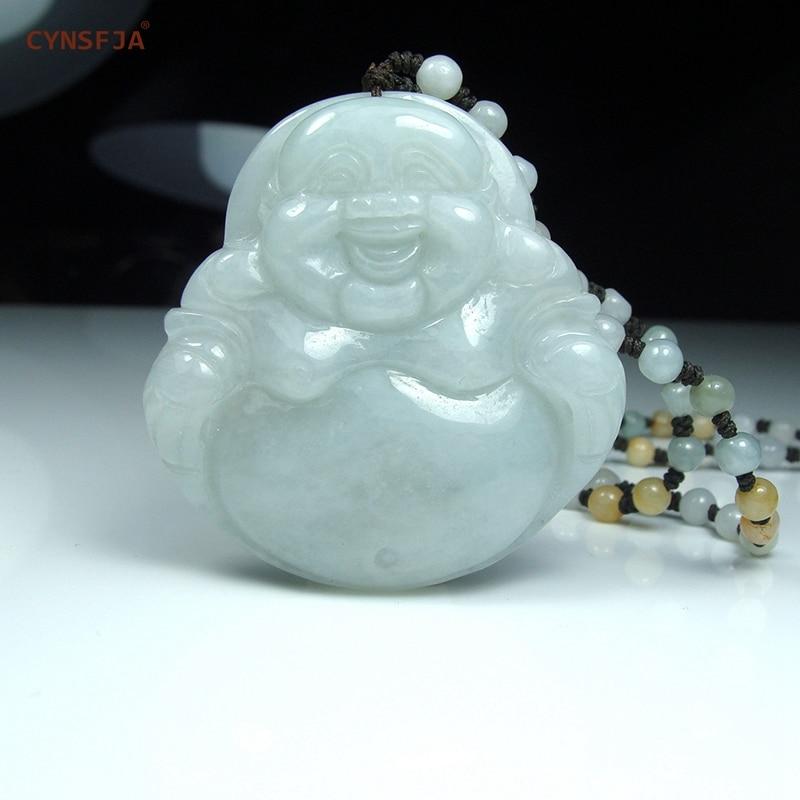 CYNSFJA véritable certifié naturel A amulettes de jadéite birmane de qualité pendentif bouddha Jade de haute qualité sculpté à la main meilleurs cadeaux