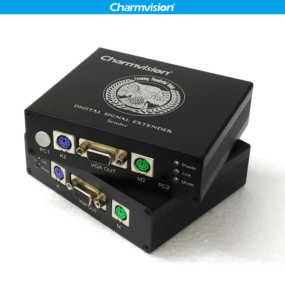 US $99 14 8% OFF|Charmvision EKP200HR 200m PS/2 KVM Extender over UTP STP  Cat5E Cat6 cable with Power Switch for CCTV Remote Control Solution-in