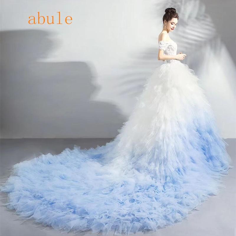 Ruffles Wedding Dress royal train 2018 African puffy Tiered sweetheart cap sleeve illusion Custom Made wedding Bridal Gown