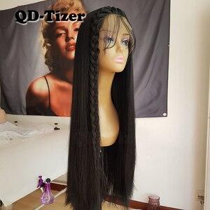 Image 3 - Lange Yaki Gerade Haar Schwarz Farbe Synthetische Lace Front Perücken Glueless Weiche 180 Dichte Spitze Vorne Perücke Yaki Haar für frauen