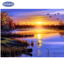 diy diamond embroidery Natural Sunset landscape painting,full mosaic picture of rhinestones cross-stitch