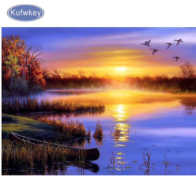 d307f26f99f diy diamond embroidery Natural Sunset landscape diamond painting ...