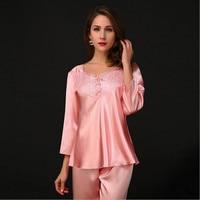 Sexy Women Pajama Sets Three Quarter Lace V Neck Royal Style Elegant Pyjamas Top Quality For