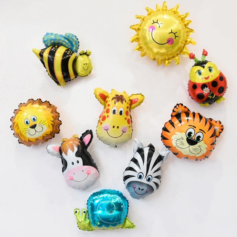 9 Stks Mini Dier Hoofd Folie Ballon Gelukkige Verjaardag Baby Shower - Feestversiering en feestartikelen