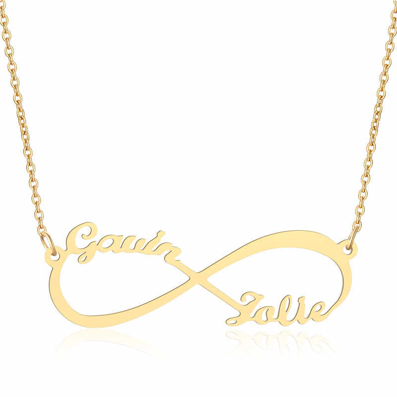 fd97e8698eb3f Personalized Necklace Infinity Symbol Stainless Steel Custom Name Necklace  Christmas Gift Custom Any Two Names Infinity Jewelry
