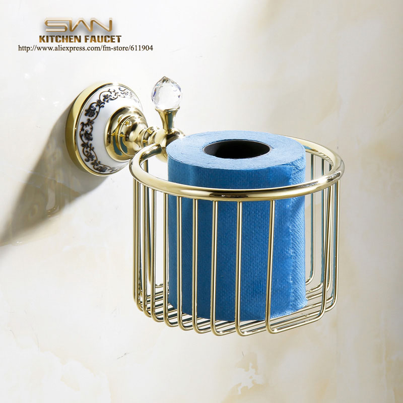 Free Shipping Gold Color Bathroom Accessaries Toliet Tissue Paper Basket Towel Roll Holder Chinese Luxury Style