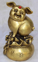 "WBY++++ free shipping 6"" Chinese Lucky Bronze Wealth Yuanbao Animal Pig Swine On Money Bag Sculpture(China)"