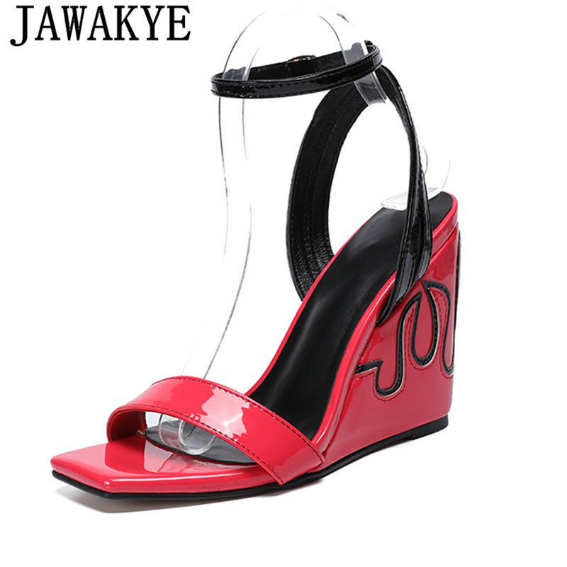 Summer Sandals women red black patent leather wedge high heel sexy ankle strap shoes for ladies